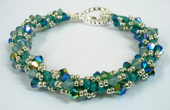 Spiral Rope Crystal Beadwork Bracelet Jewellery Making Kit with SWAROVSKI® ELEMENTS Aqua and blue tones